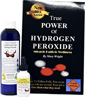 Food Grade Hydrogen Peroxide by Trinity NutraLab - Recognized as Highest Quality. 8 Fl Oz plus pre-filled dropper bottle & The Power of Hydrogen Peroxide 35% reduced to 12% shipped fast.