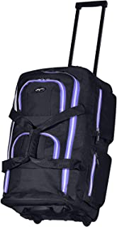 Olympia 8 Pocket Rolling Duffel Bag, Black/Purple, 22 inch
