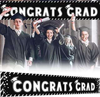 9.8 x 1.6 ft Large Sign Congrats Grad Banner - Black Perfect Graduation Party Decorations Backdrop