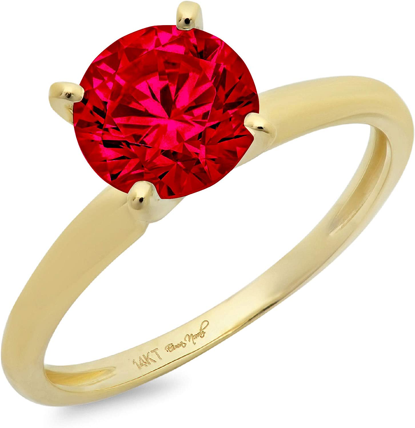 1.0 ct Brilliant Round Cut Solitaire Flawless Stunning Pink Tourmaline Ideal VVS1 4-Prong Engagement Wedding Bridal Promise Anniversary Designer Ring in Solid 14k Yellow Gold for Women