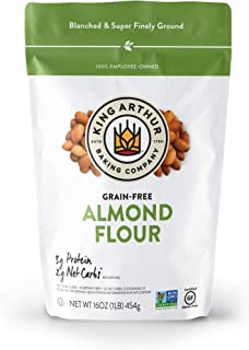 King Arthur, Almond Flour, Certified Gluten-Free, Non-GMO Project Verified, Certified Kosher, Finely Ground, 16 Ounces, 4 ...