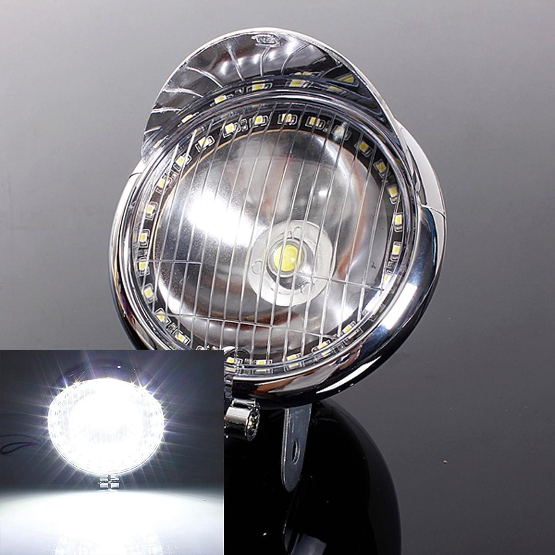 CALAPSTORE  12V Motorcycle 27LED Angel Eye Light Fog Light 1COB LED Headlight Lamp for Harley Chopper Bobber Cruiser