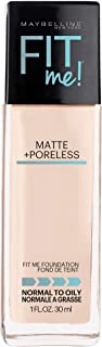 Maybelline Fit Me Matte + Poreless Liquid Foundation Makeup, Natural Ivory, 1 fl. oz. Oil-Free Foundation