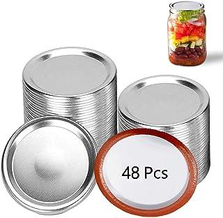 Canning Lids(48Pieces), Regular Mouth Mason Jar Lids, Aluminum Lids For Mason Jar Regular Mouth, Split-type Lids Leak Proo...