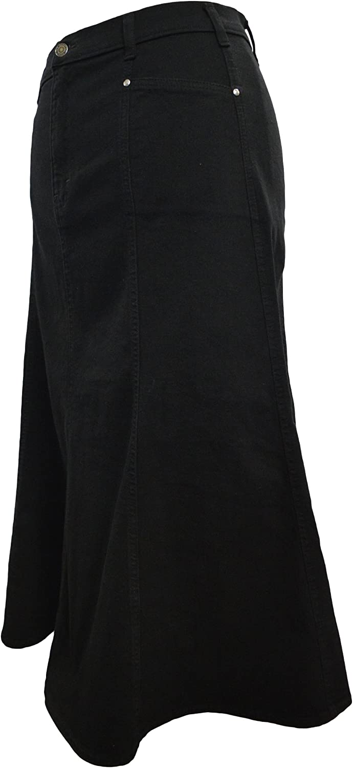 Ice Cool Ladies Long Flared Black Stretch Denim Skirt  Sizes 10 to 22, in 30  & 35  Lengths