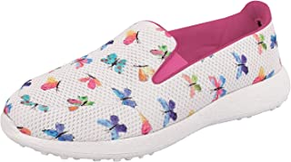 KazarMax Women's Butterfly Floral Light Weight Slip On Walking/Casual Sneakers/Shoes (Washable with Quick Dry Fabric) [Made in India]