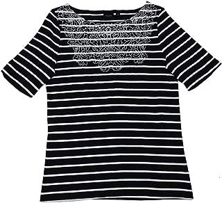 Rafaella Womens Elbow Sleeve Embroidered Blouse Top, Black/White/Stripe