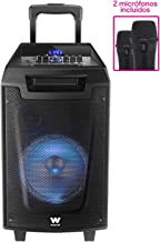 Woxter Rock'n'Roller - Altavoz trolley con función karaoke, Potencia de 80W, Display Led, Bluetooth, Lector SD/USB, AUX, Prioridad Mic, Mando a distancia, Batería de alta capacidad y 2 micrófonos inalámbricos