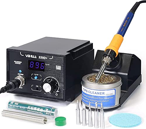 lowest YIHUA 939D+ Digital Soldering Station, 75 Watt Equivalent with Temperature Control, °C/°F Display. ESD outlet sale safe for Electronics. Aluminum Panel (Resists Burn). Solder new arrival Tips, Lead-free Solder & Extras online sale