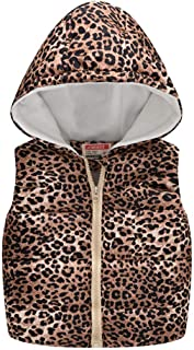 Hmlai Clearance Toddler Baby Girls Boys Sleeveless Winter Down Vest Leopard Print Warm Hooded Fleece Jacket Waistcoat