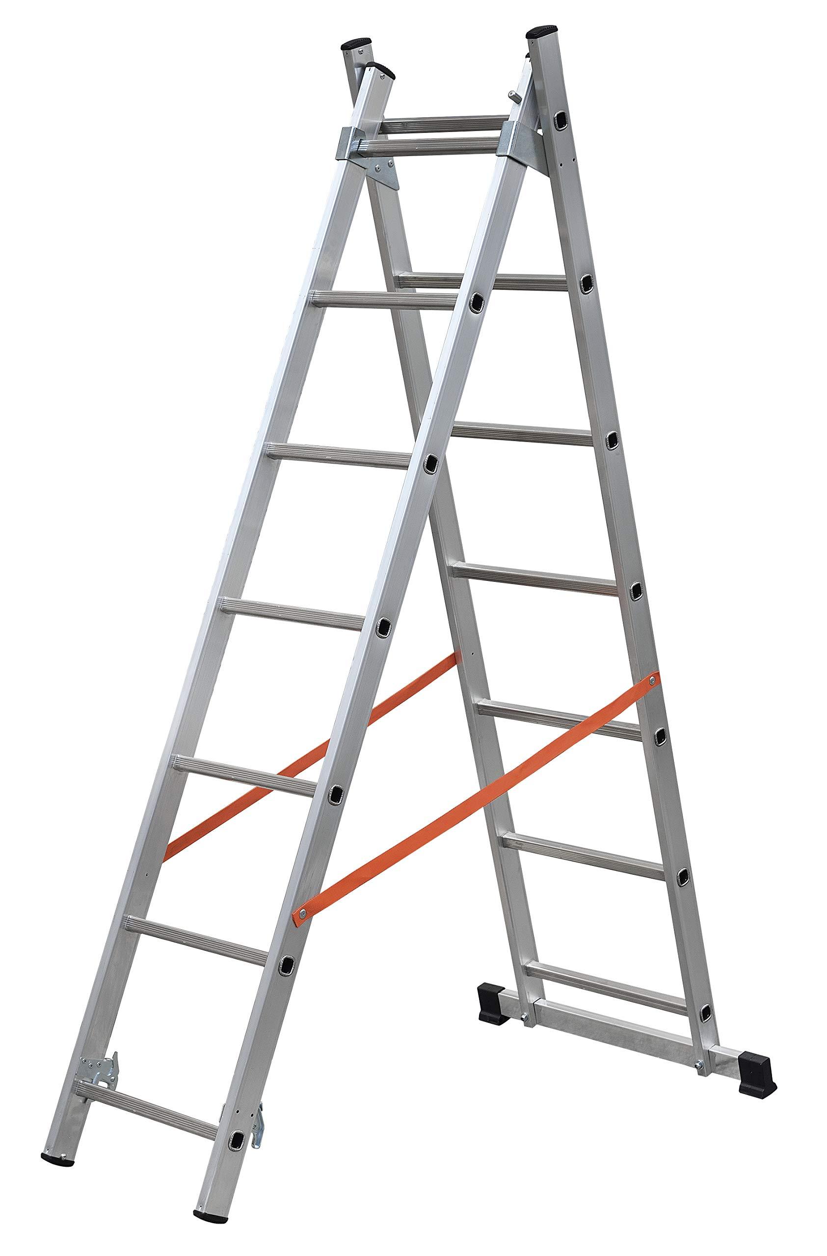 Escalera a dos elementos (aluminio, utilizable a Sfilo o a caballete. dotata de estabilizador de base, Tirante antiapertura y limitador de altura.: Amazon.es: Bricolaje y herramientas