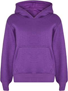 Kids Girls Boys Sweatshirt Tops Plain Purple Hooded Jumpers Hoodies Age 2-13 Yr