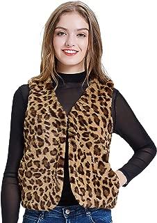 Women Faux Fur Leopard Sleeveless Vest Coat Cardigan with Pocket