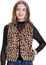 Kate Kasin Women Faux Fur Leopard Sleeveless Vest Coat Cardigan with Pocket