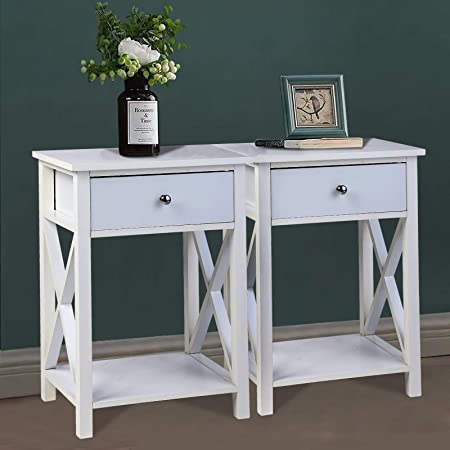 LETATA Modern X-Design Sturdy Wooden Side End Table White Night Stand Storage Shelf with Bin Drawer for Living Room Stylish Bedroom Sets of 2