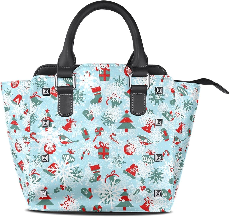 My Little Nest Women's Top Handle Satchel Handbag Christmas Snowflakes Ladies PU Leather Shoulder Bag Crossbody Bag