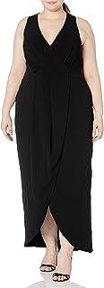 Dress the Population womens Ariel Sleeveless Plunging Long Gown Wrap Dress Plus Dress