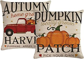 7COLORROOM Set of 2 Pumpkin Throw Pillow Covers Retro Red Truck Autumn Harvest Cushion Cover Farmhouse Decorative Cotton Linen Pillowcases 18