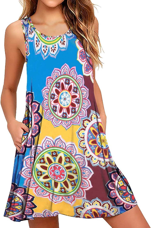 Cherfly Women Casual TShirt Summer Dresses Floral Bohemian Dress Swing Boho Sundress Sleeveless with Pockets
