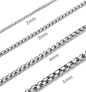 Monily 2-7mm 16-38In Square Rolo Stainless Steel Chain Necklace Round Box Necklace Men Women Jewellery …