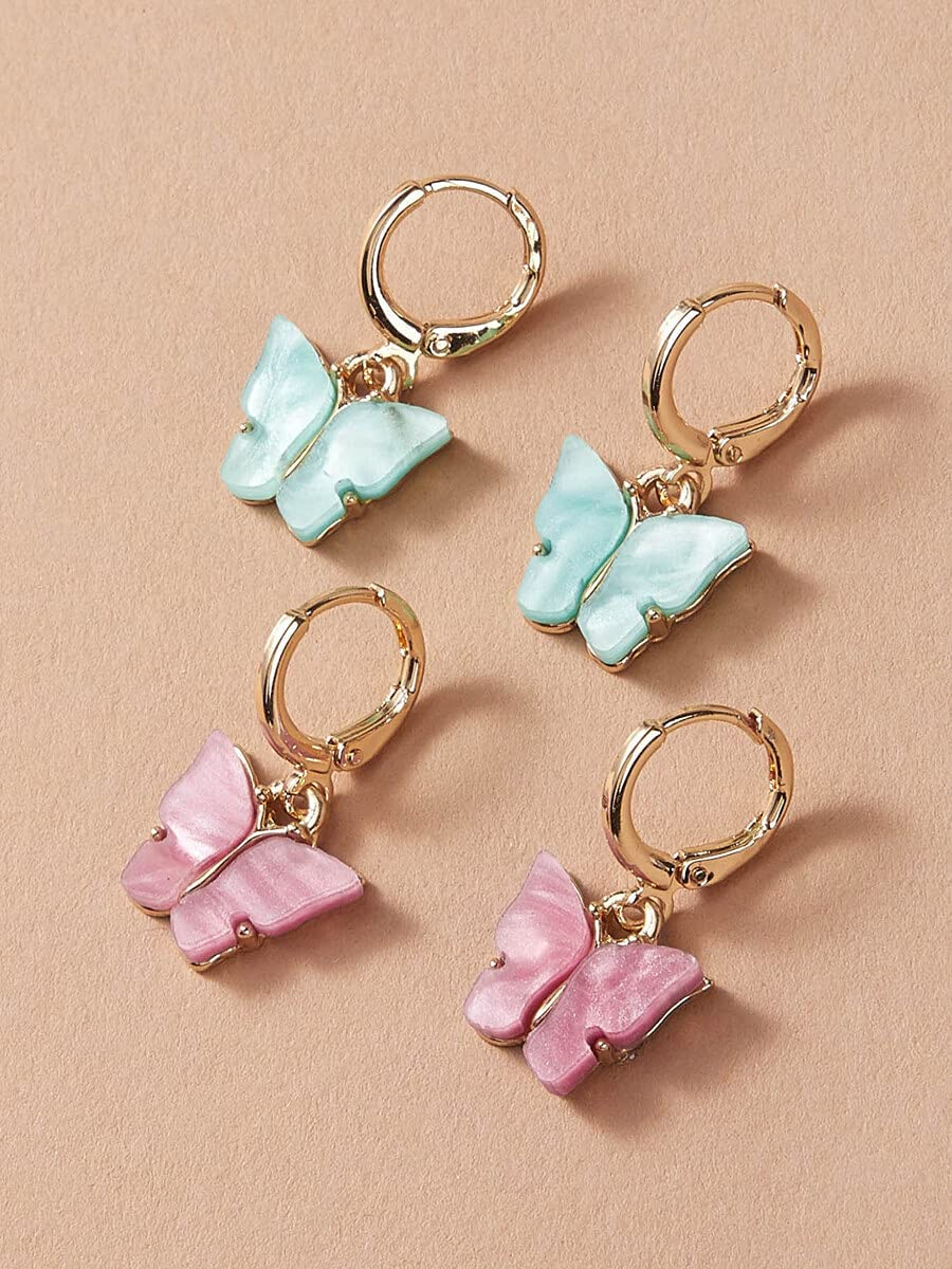 Hoop Earrings 2pairs Butterfly Decor Ear Cuff (Color : Multicolor)