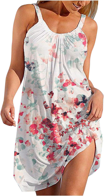 ONHUON Summer Dresses for Women Casual,Women's Tank Dresses Sleeveless Hawaiian Boho Beach Party Dress Floral Sundress
