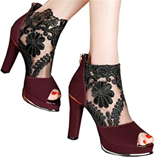 20980433158d Hbvza Thick with The Fish Mouth Shoes Women s high-Heeled Shoes Europe and  America mesh