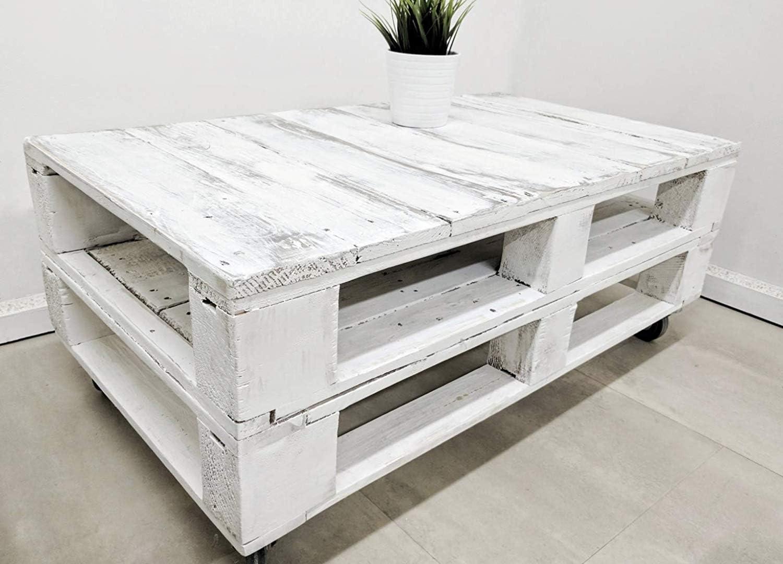 Mesa de palets para Jardin - Terraza, Patio, Salón, Interiores, Exteriores - Muebles con palets de Madera, Mobiliario Rustico (Blanco - Envejecido, 90 x 50 x 45)