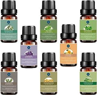 Top 8 Essential Oils Set,Pure Therapeutic Grade Aromatherapy Oils,Lavender,Eucalyptus,Lemongrass,Frankincense,Orange,Rosemary,Peppermint,Tea Tree Essential Oils, 0.33 Fl Oz