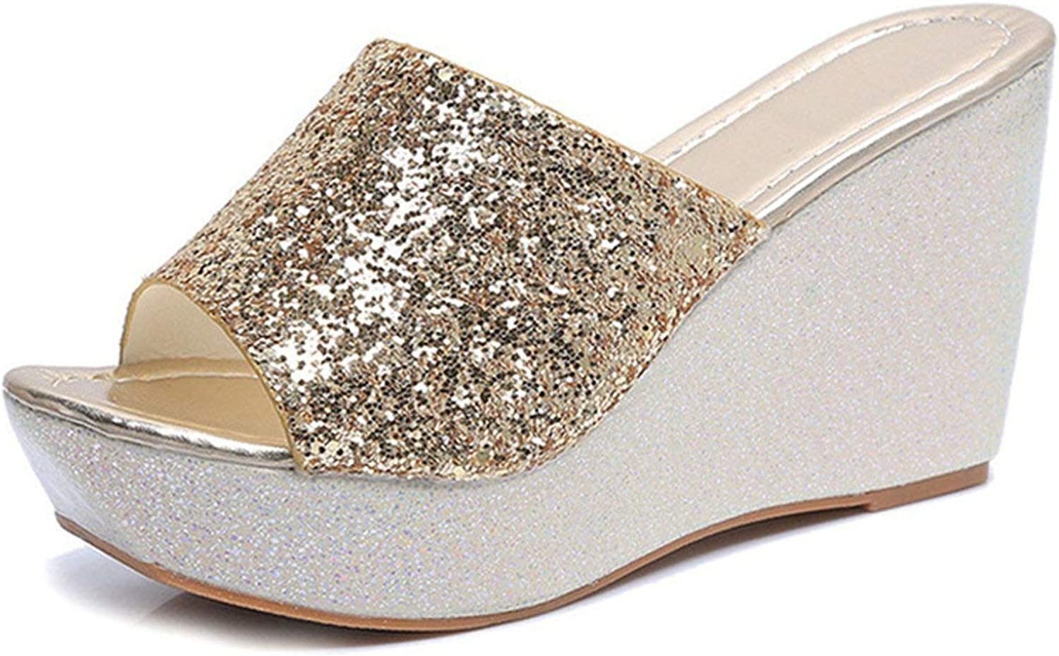 Women Summer Bling Slippers Fashion Glitter Platform High Heels Casual shoes Non Slip Outdoor Wedges Slides