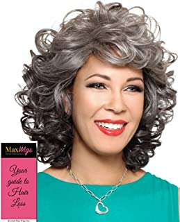 Helena Wig Color 3T51 - Foxy Silver Wigs Medium Length Bouncy Curls Synthetic Wispy Bangs African American Women's Machine Wefted Lightweight Average Cap Bundle with MaxWigs Hairloss Booklet