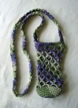Cotton Crochet Crossbody Water Bottle Bag Purple Green Drink Carrier Holder Beverage Cozy Sling Tote