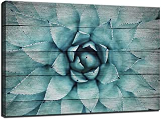 Vintage Wall Art Blue Agave Canvas Prints Plant Leaves Wood-Grain Canvas Painting,Modern Home Decor Stretched and Framed Ready to Hang,Size 24