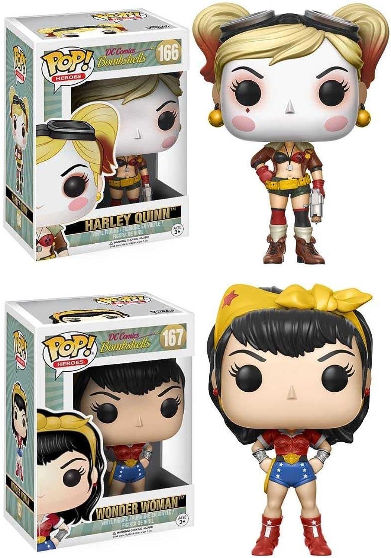 Funko POP  DC Comics Bombshells  Harley Quinn + Wonder Woman - Vinyl Figure Set NEW