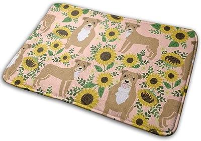 """Pitbull Sunflowers Floral Dog Breed Pitty Lover Pink_18604 Doormat Entrance Mat Floor Mat Rug Indoor/Outdoor/Front Door/Bathroom Mats Rubber Non Slip 23.6"""" X 15.8"""""""