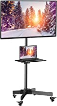 Mobile TV Cart with Wheels for 23-55 Inch LCD LED Plasma Flat Screen TVs - Height Adjustable Shelf Stand Holds up to 55lbs - Movable Monitor Holder with Tray Max VESA 400x400mm