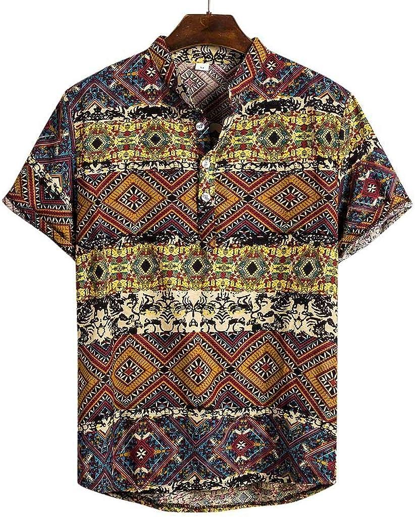 IHGTZS Shirts for Men, Mens Ethnic Short Sleeve Casual Cotton Linen Printing Hawaiian Shirt Blouse