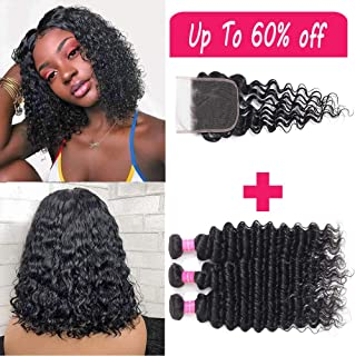 JOSUA Hair 9A Brazilian Deep Wave 3 Bundles With Closure 100% Human Hair Bundles With 4×4 Lace Closure Unprocessed Virgin Deep Wave Bundles Natural Color (10 12 14+10, bundles with closure)