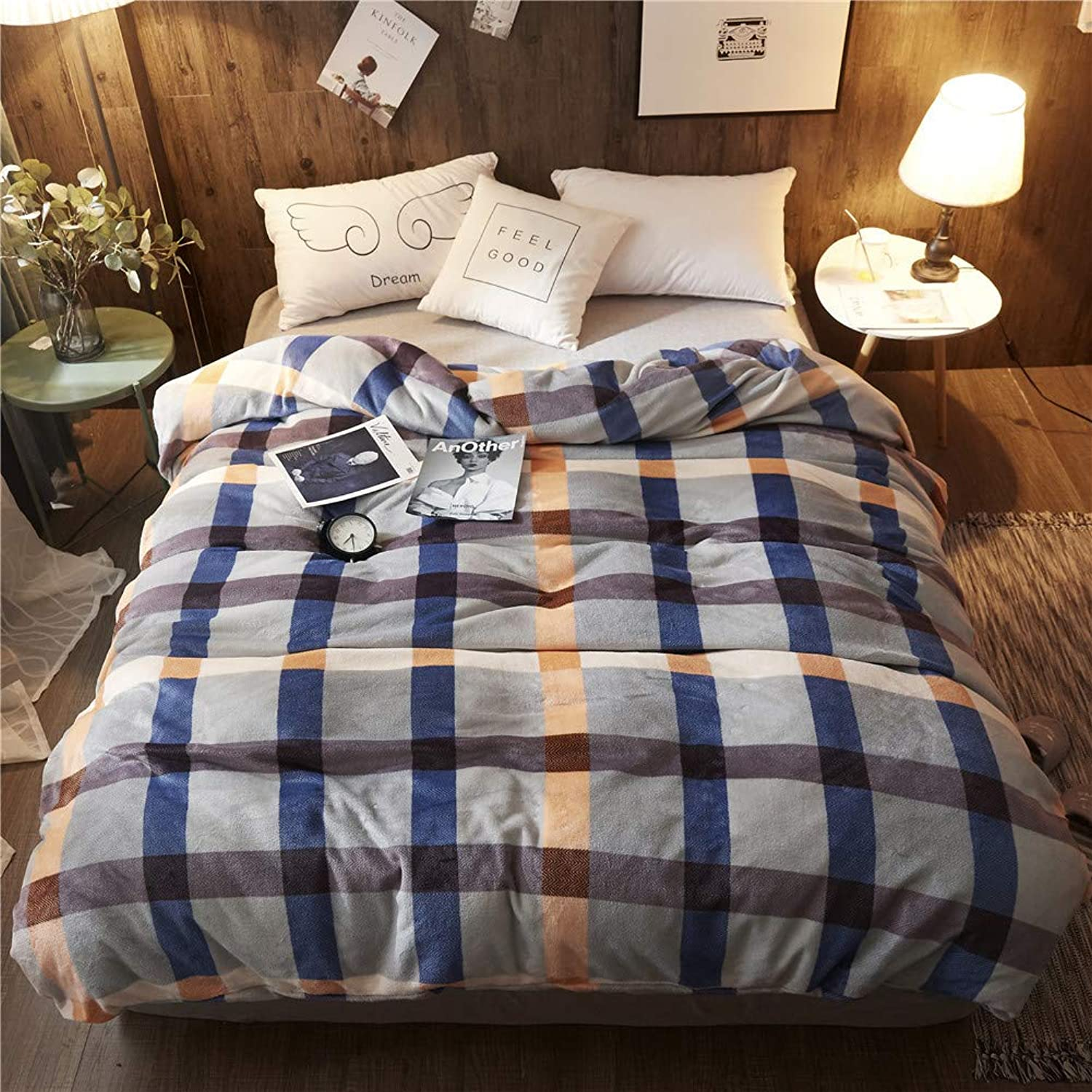 LIYAXUN Thickening and Warmth Retention Simplicity Hypoallergenic Soft Breathable Flannel Duvet Cover79  x 91 (200 x 230cm),Nordic Lattice