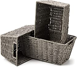 EZOWare Set of 3 Paper Rope Woven Storage Baskets with Handles, Braided Multipurpose Organiser Box Perfect for Storing Sma...