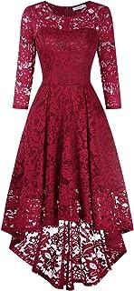 KOJOOIN Vestido Cóctel Vintage Hi-Lo Elegante Mujer Flor Encaje Vestidos de Fiesta