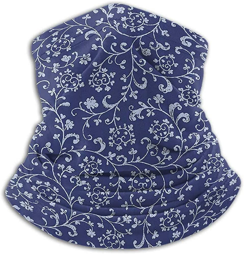 Face Scarf Mask Women Floral Winter Neck Gaiter Victorian Baroque Style Classic Swirled Flowers with Damask Effects Pattern Indigo Violet Blue