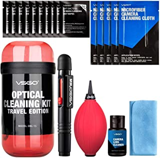 VSGO DKL-15R Professional Cleaning Kit for DSLR Cameras and Sensitive Electronics Bundle with 0.5oz VSGO Photo Lens and LCD Cleaner 3 Color for Option(Black, Blue, Red) (Red)