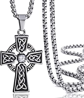 Celtic Cross Necklace for Men Cubic Zirconia Stainless Steel Pendant Necklaces Chain 18inch-30inch