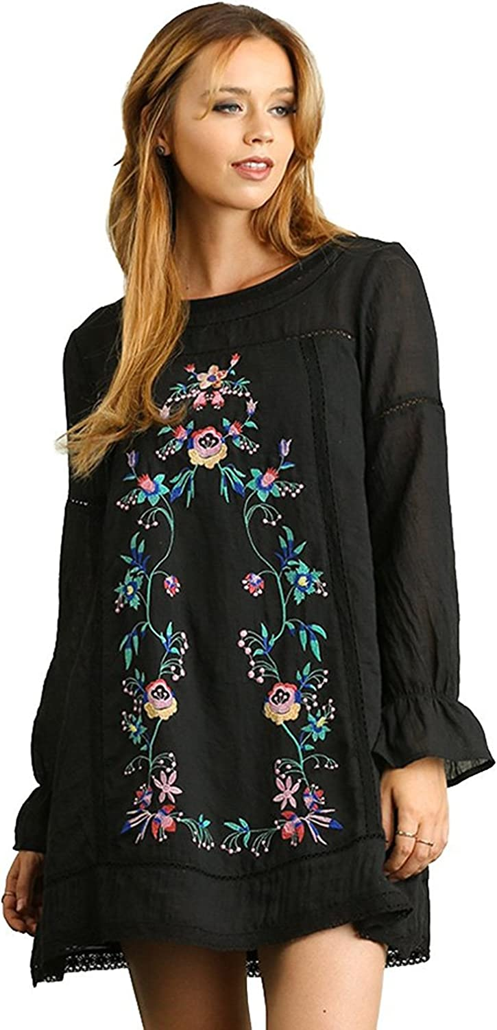 Umgee Women's Long Sleeve BOHO A Line Dress with Floral Embroidery Details