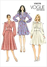 Vogue Patterns V9076 E5 Misses' Gathered Dress with Bishop Sleeves Sewing Pattern, Size 14-22 (9076)