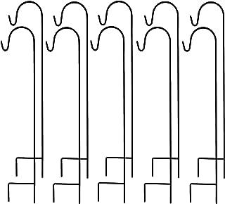 Ashman Shepherd Hook 48 Inch 10 Pack, Rust Resistant Steel Hooks Ideal for Hanging Plant Baskets, Solar Lights, Lanterns, Bird Feeders, Insect Repellents & More (Black)