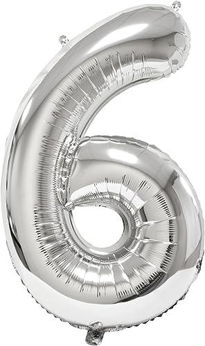 Visiodirect Lot DE 12 Ballons géants métallisés 6  Argent - 86 cm