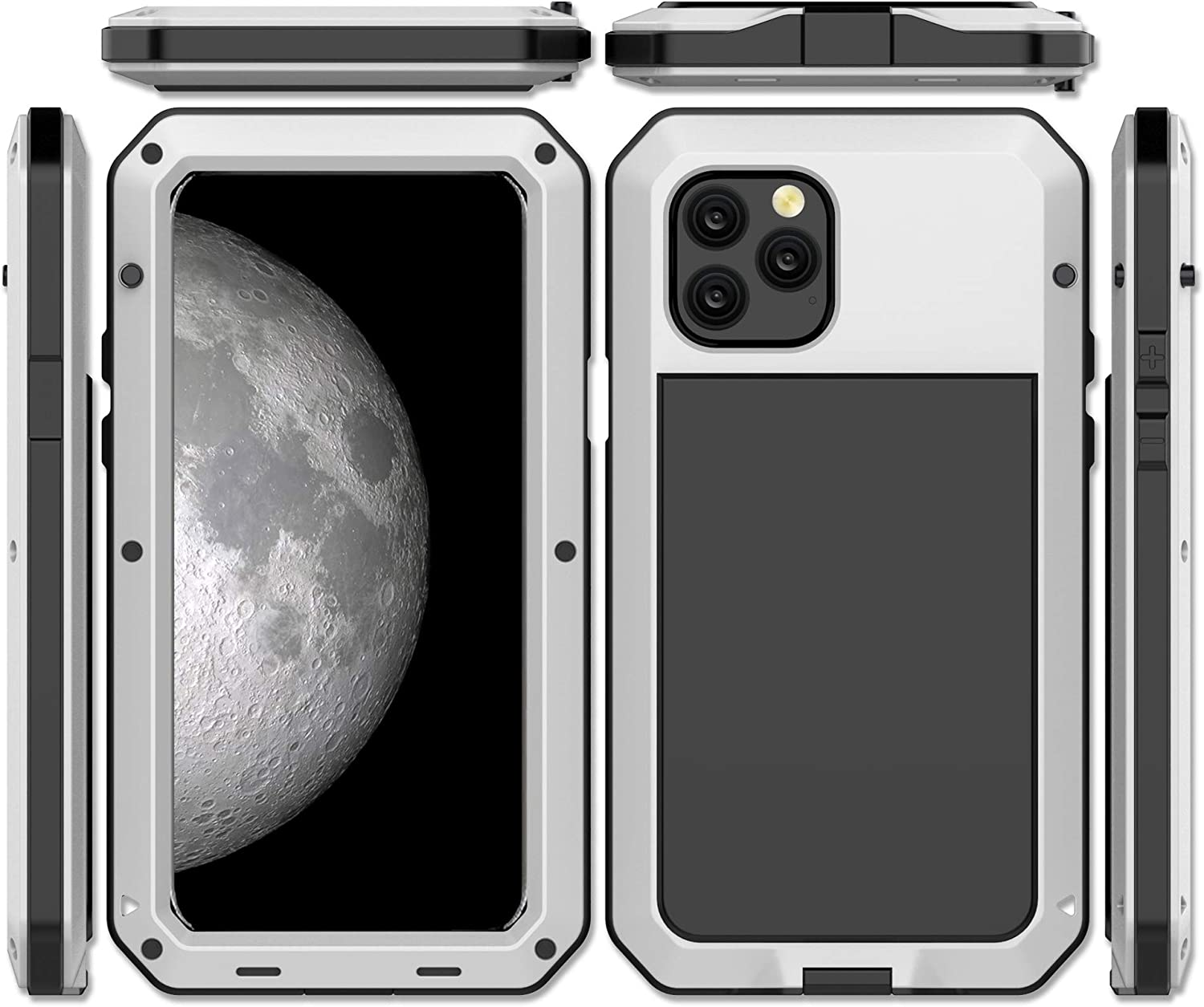 iPhone 11 Case, CarterLily Full Body Shockproof Dustproof Waterproof Aluminum Alloy Metal Gorilla Glass Cover Case for Apple iPhone 11 6.1 inch (White)