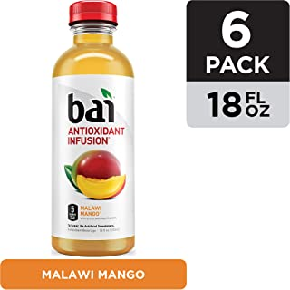 Bai Flavored Water, Malawi Mango, Antioxidant Infused Drinks, 18 Fluid Ounce Bottles, 6 count